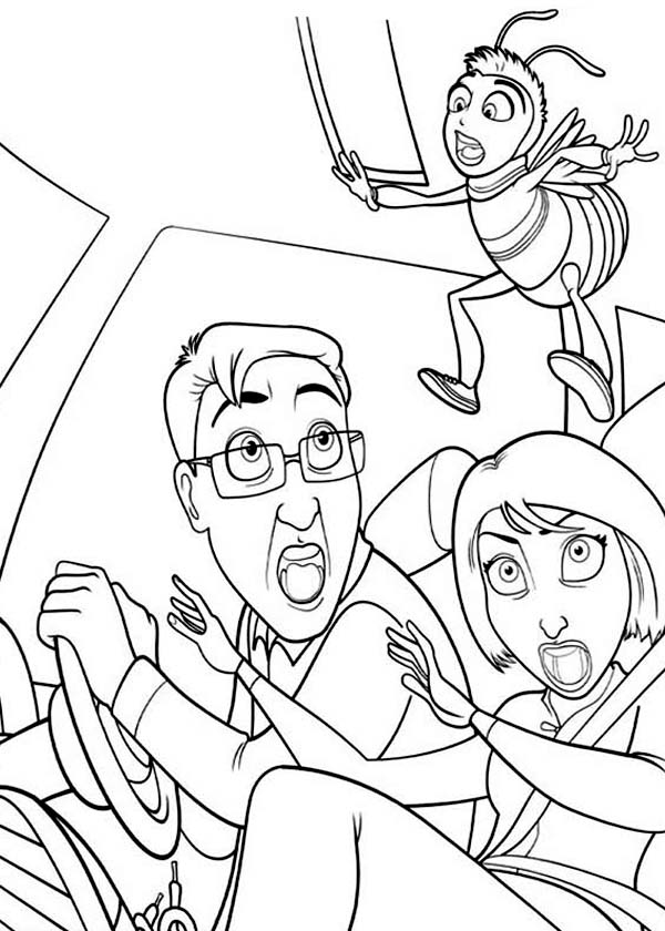 Bee Movie, : Ken and Vanessa Super Shock with Barry Presence in Bee Movie Coloring Pages