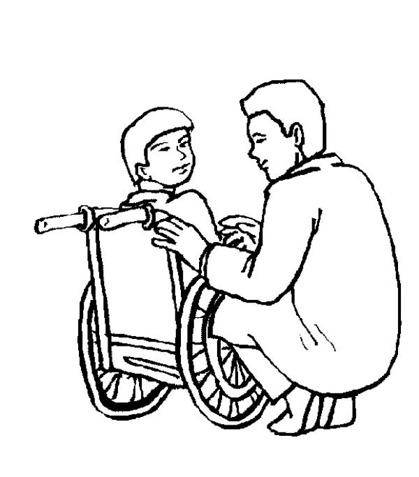 Hospital, : Kid Sitting on Wheelchair in Hospital Coloring Pages