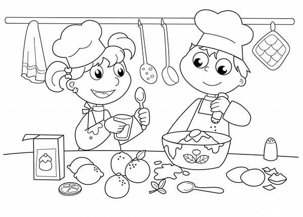 Kids Baking Cake In Cooking Show Bakery Coloring Pages