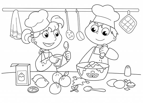 Bakery, : Kids Baking Cake in Cooking Show Bakery Coloring Pages