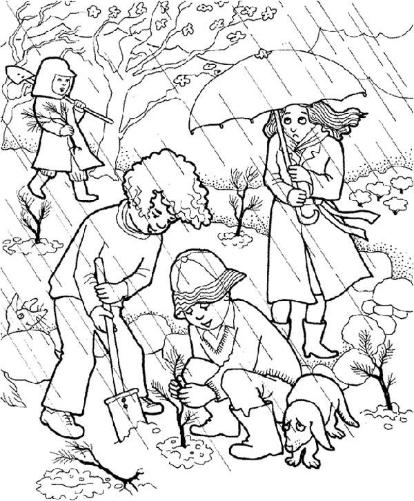 Gardening, : Kids Doing Gardening Activity in the Rain Coloring Pages