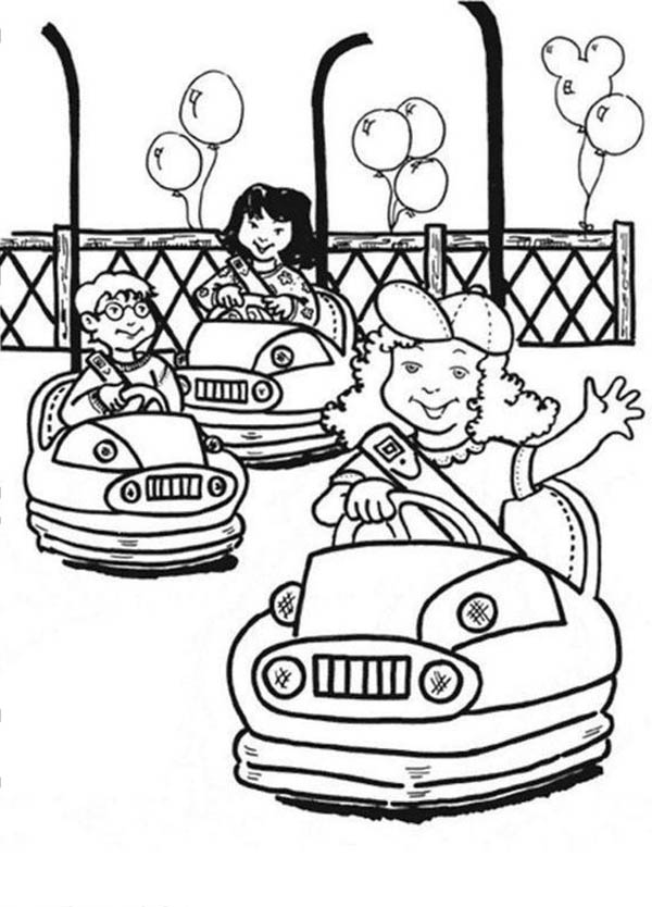 Circus and Carnival, : Kids Play Bom Bom Car at Circus and Carnival Coloring Pages