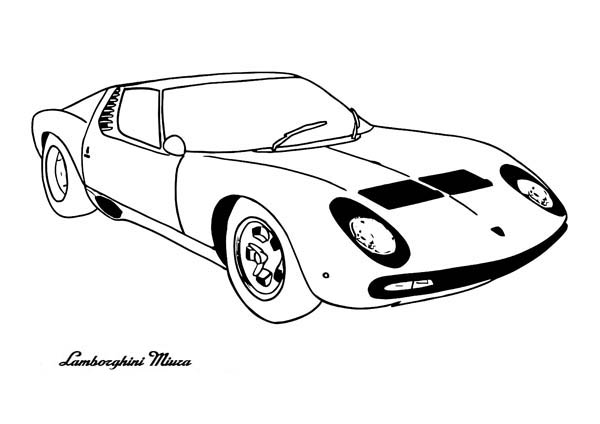 Classic Cars, : Lamborghini Miura Classic Cars Coloring Pages
