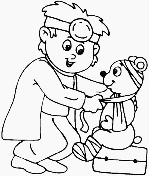 Hospital, : Little Animal Doctor at Hospital Coloring Pages