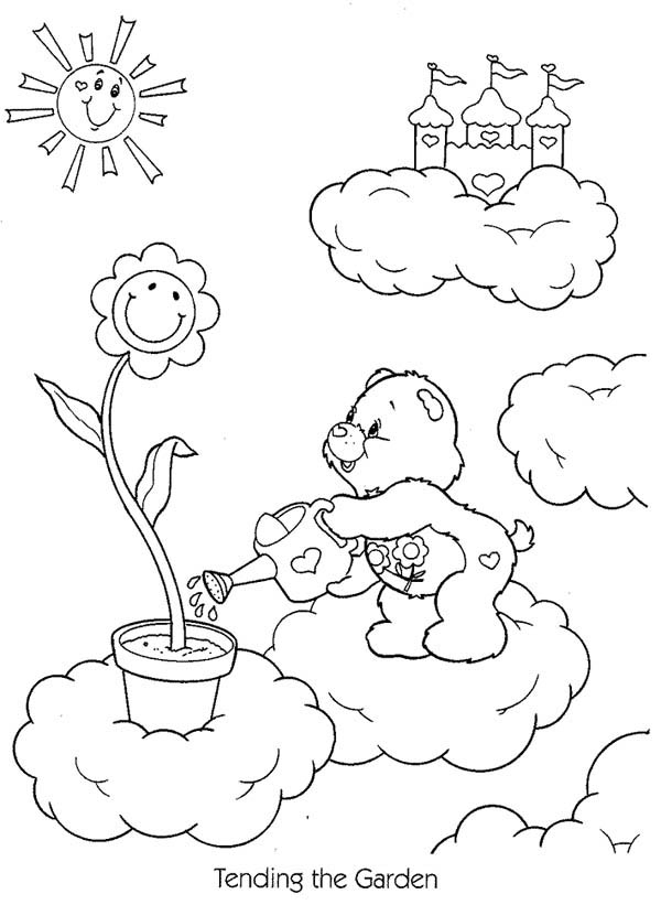 Gardening, : Little Bear Gardening Coloring Pages