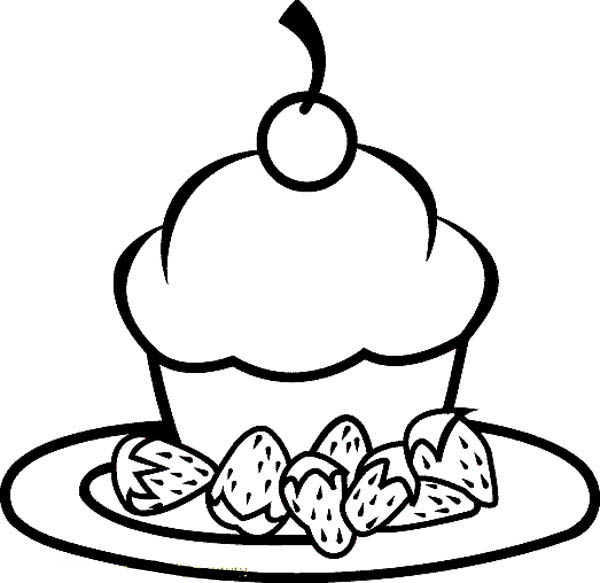 Foods, : Little Cake and Strawberry Food Coloring Pages