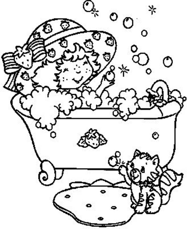 Bath, : Little Cat and Little Girl Bath Time Coloring Pages