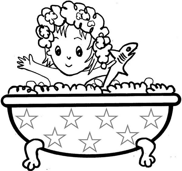 Bath, : Little Girl Take a Bath with Shark Doll Coloring Pages