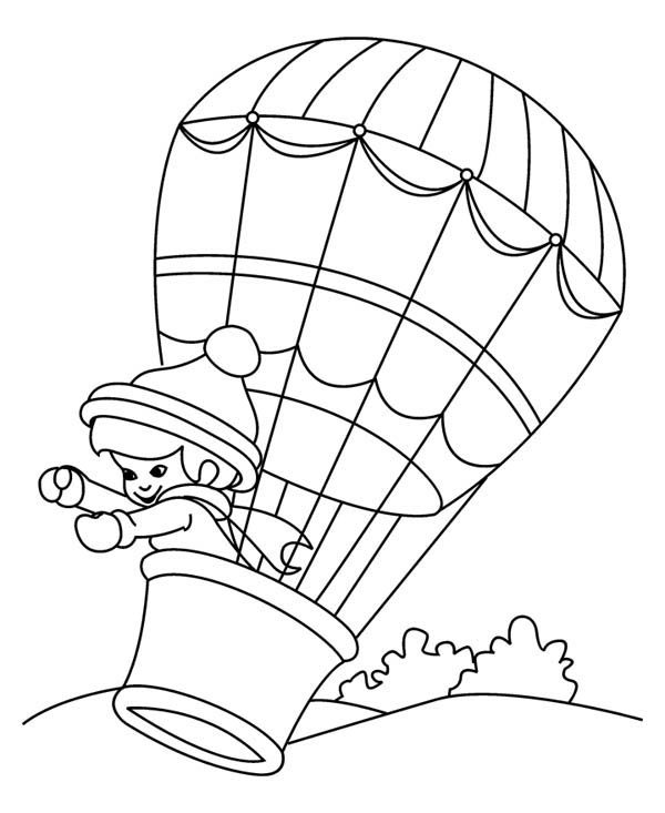 Hot Air Balloon, : Little Kid on Hot Air Balloon Coloring Pages