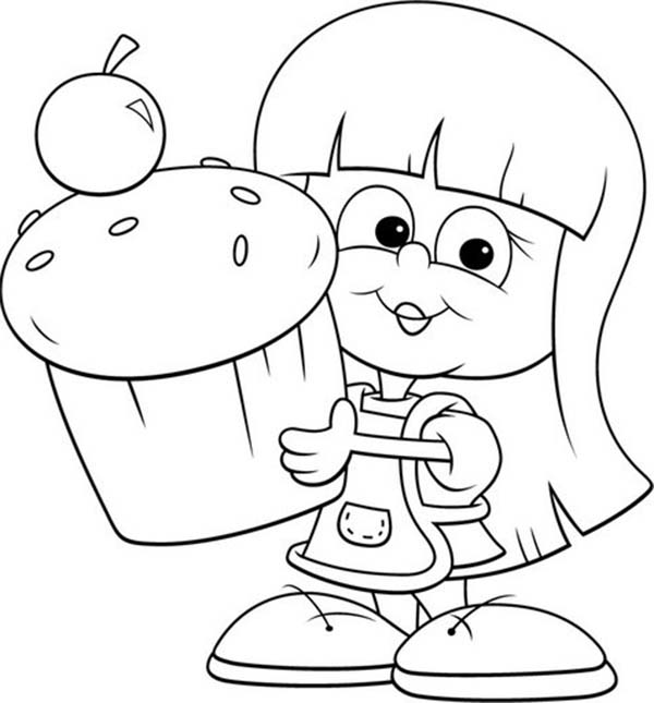 Bakery, : Little and Her Giant Cupcake in Bakery Coloring Pages