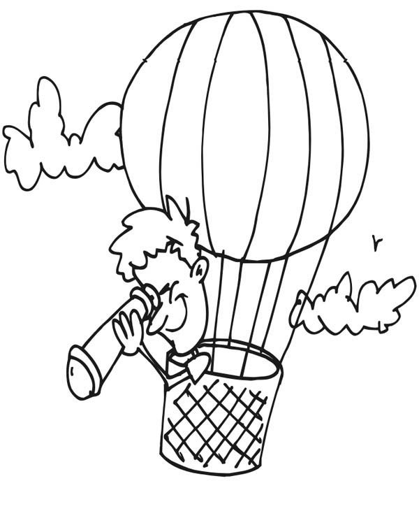 Hot Air Balloon, : Looking Down Using Telescope on Hot Air Balloon Coloring Pages