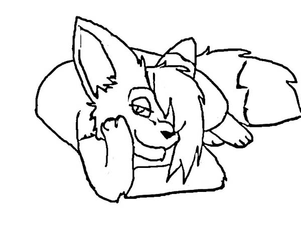 Fox, : Lovely Fox Girl Coloring Pages