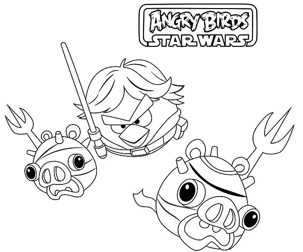 Angry Bird Star Wars, : Luke Skywalker Won Against Imperial Pigs in Angry Bird Star Wars Coloring Pages