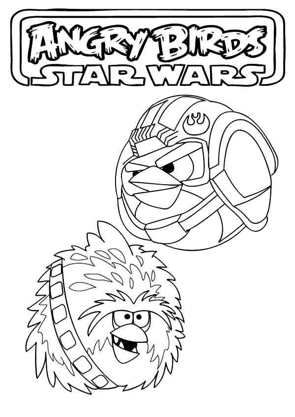Angry Bird Star Wars, : Luke Skywalker and Chewbacca Angry Bird Star Wars Coloring Pages