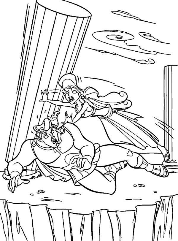 Hercules, : Megara Save Hercules from Big Pillar Coloring Pages