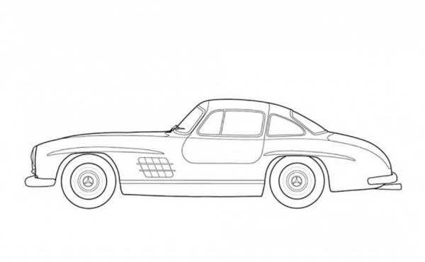 Classic Cars, : Mercedes Benz 300SL Classic Cars Coloring Pages