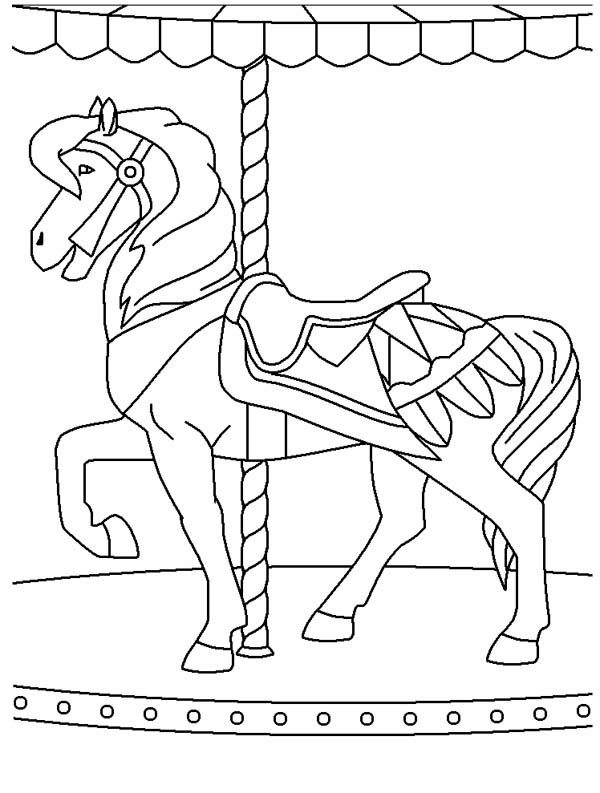 Circus and Carnival, : Merry Go  Round at Circus and Carnival Coloring Pages