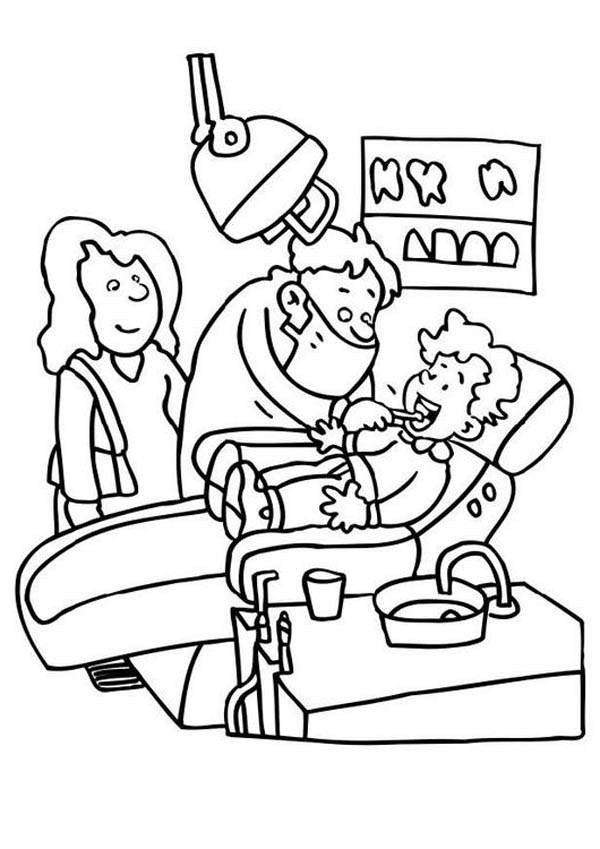 Dentist, : Mommy and I going to Dentist Coloring Pages