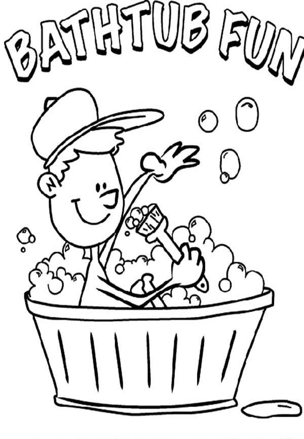 Bath, : Morning Bath Before School Coloring Pages