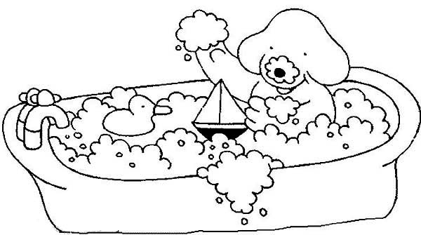 Bath, : Morning Bath with Sailship and Rubber Duck Coloring Pages