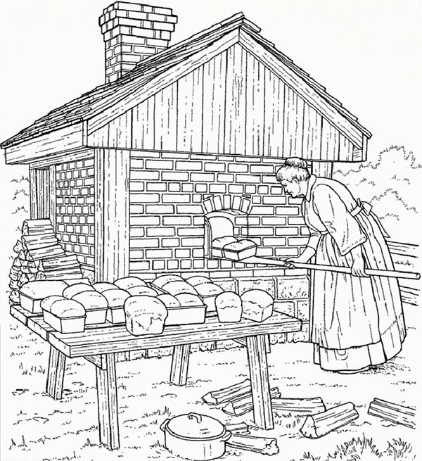 Bakery, : Mother at Farm Life Bakery Coloring Pages