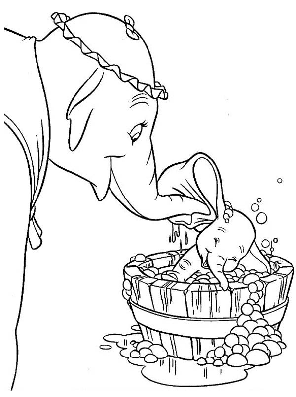 Dumbo the Elephant, : Mrs Dumbo Take Dumbo the Elephant to Bath Coloring Pages