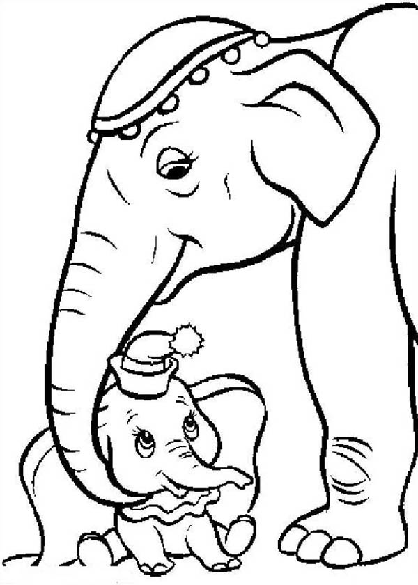 Dumbo the Elephant, : Mrs Dumbo Taking Care of Dumbo the Elephant Coloring Pages