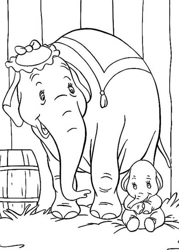 Dumbo the Elephant, : Mrs Dumbo Talking to Her Son Dumbo the Elephant Coloring Pages