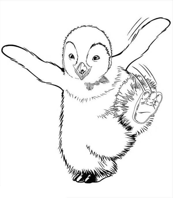 Happy Feet, : Mumble Doing His Dance in Happy Feet Coloring Pages