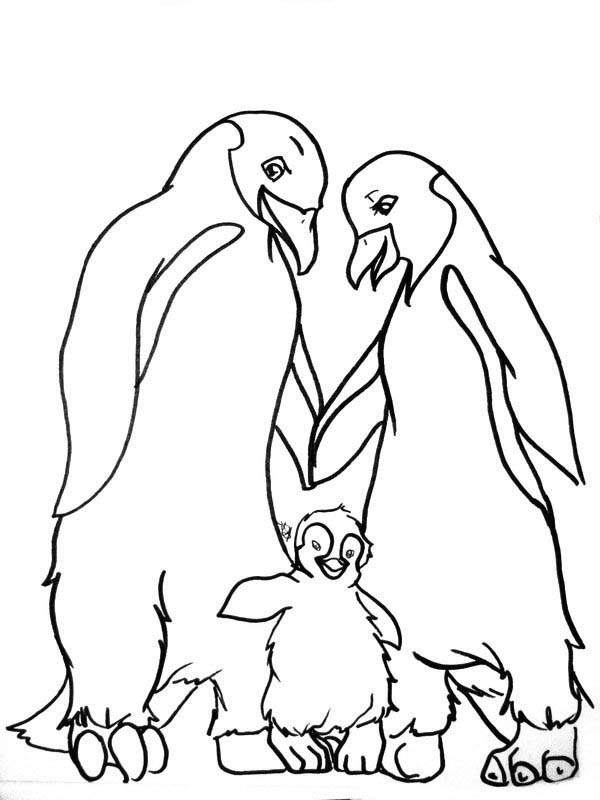 Happy Feet, : Mumble and His Parents in Happy Feet Coloring Pages