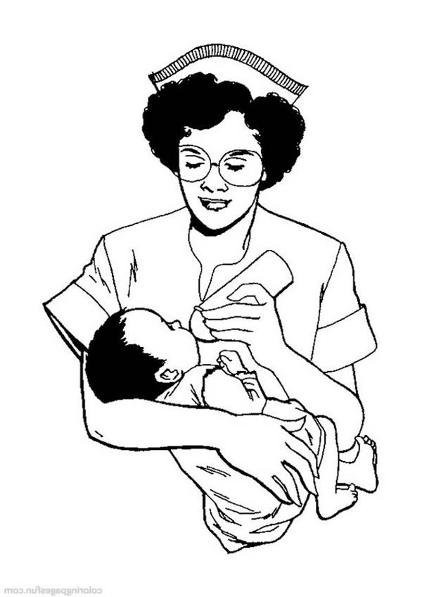 Hospital, : Nurse Feeding Baby with Milk in Hospital Coloring Pages