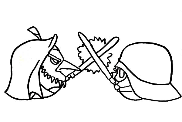Angry Bird Star Wars, : Obi Wan Kenobi Versus Darth Vader Angry Bird Star Wars Coloring Pages