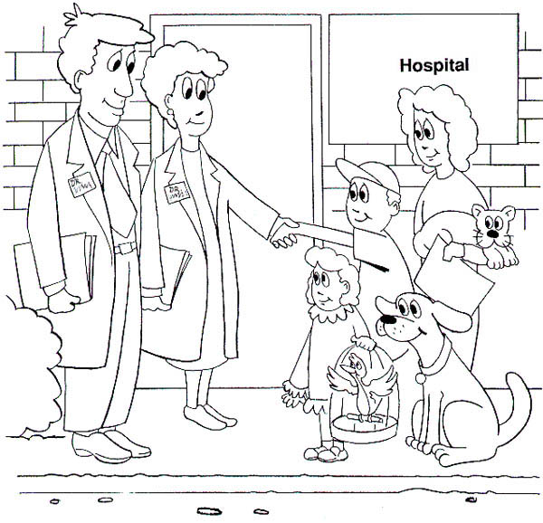 Hospital, : Patient Leaving Hospital Coloring Pages