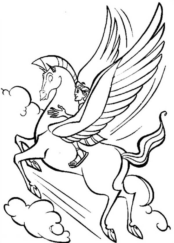 Hercules, : Pegasus Flying High with Hercules Coloring Pages