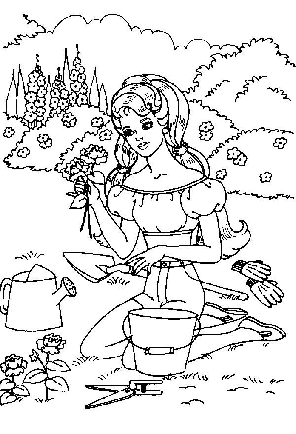 Picking A Beautiful Rose In Gardening Coloring Pages