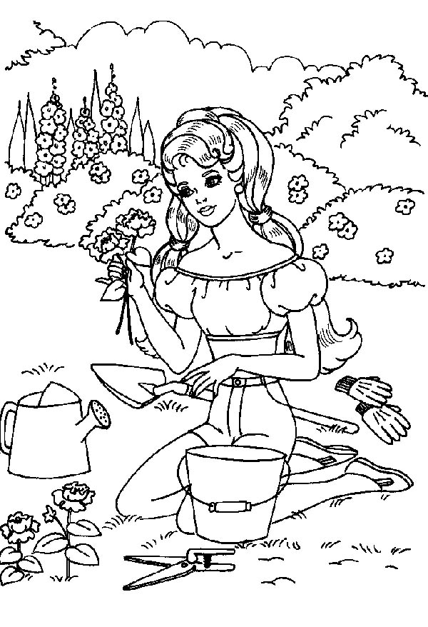 Gardening, : Picking a Beautiful Rose in Gardening Coloring Pages