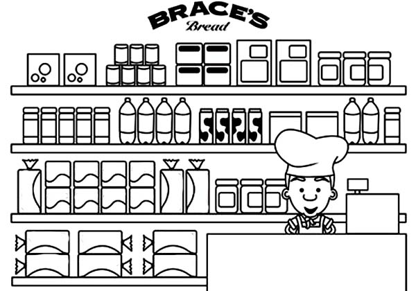 Bakery, : Picture of Bakery Coloring Pages