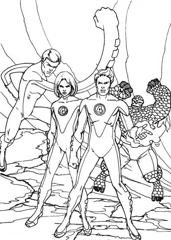 Picture Of Fantastic Four Coloring Pages Bulk Color