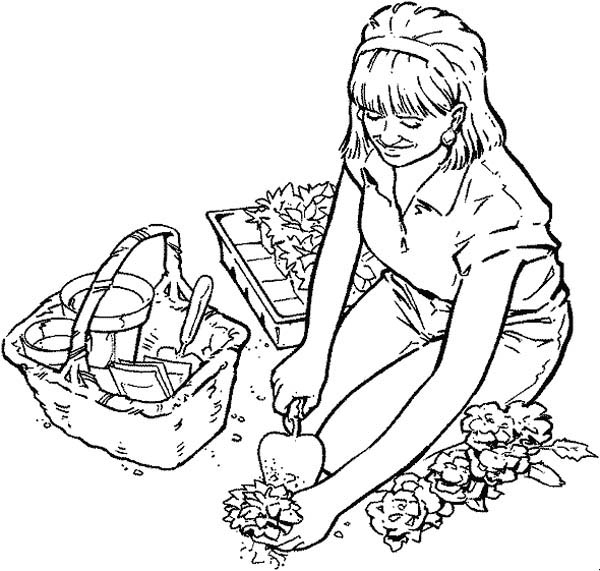 Gardening, : Planting Flower Seed in Gardening Coloring Pages