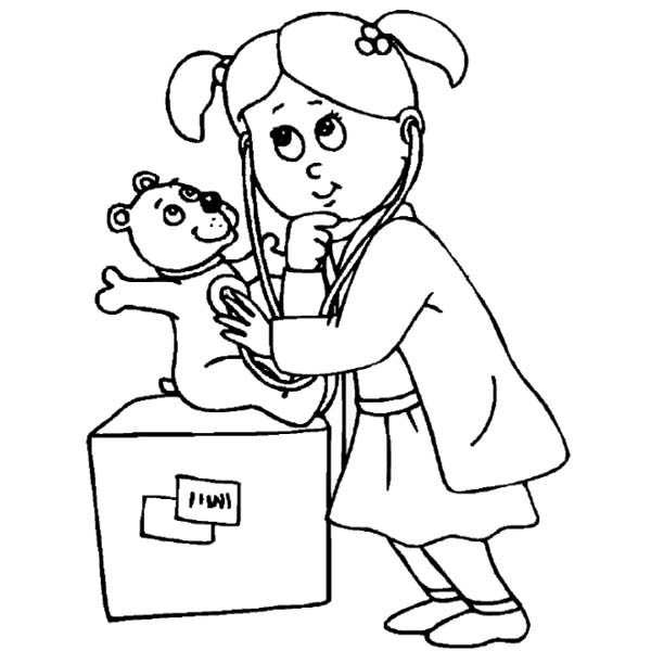 Hospital, : Playing Doctor Working at Hospital Coloring Pages