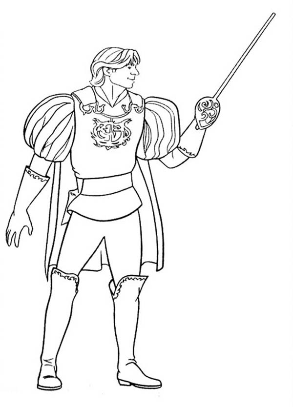Enchanted, : Prince Charming Edward from Enchanted Coloring Pages