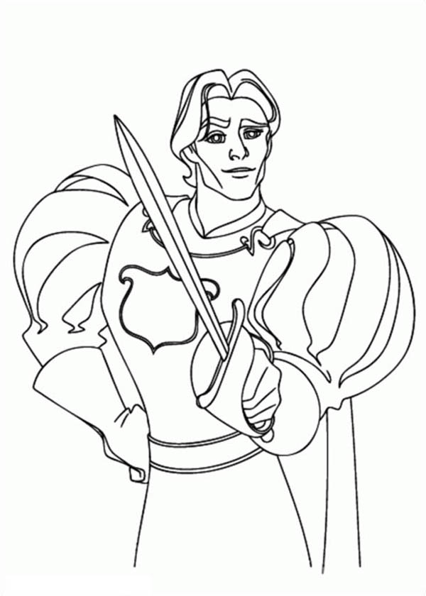 Enchanted, : Prince Edward Drew His Sword in Enchanted Coloring Pages