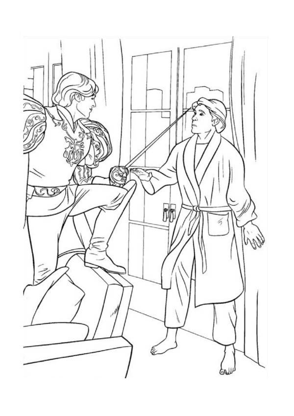 Enchanted, : Prince Edward Threatening with His Sword in Enchanted Coloring Pages