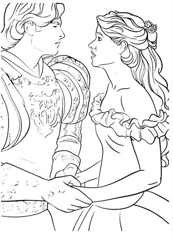 Enchanted, : Prince Edward and Geselle are in Love in Enchanted Coloring Pages