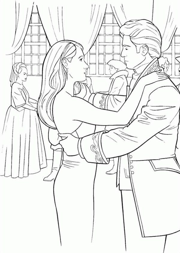 Prince Edward and Giselle Dancing at Ballroom in Enchanted Coloring ...