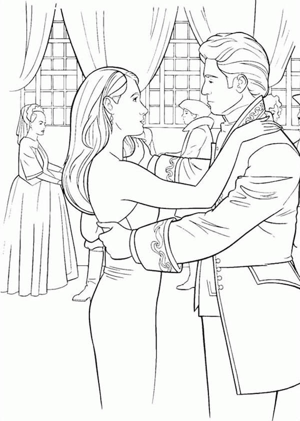Enchanted, : Prince Edward and Giselle Dancing at Ballroom in Enchanted Coloring Pages
