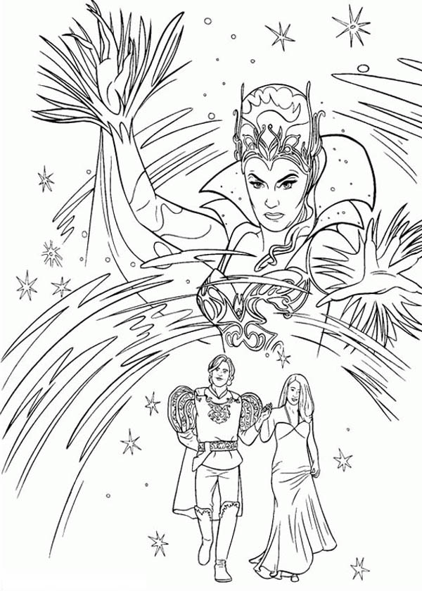 Enchanted, : Queen Narcissa Cast a Bad Spell to Happy Couple in Enchanted Coloring Pages