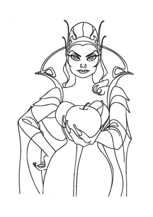 Enchanted, : Queen Narcissa Offer an Apple in Enchanted Coloring Pages