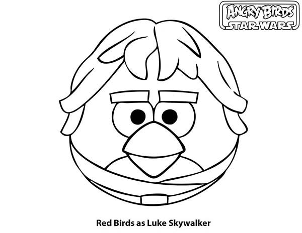 Angry Bird Star Wars, : Red Birds as Luke Skywalker in Angry Bird Star Wars Coloring Pages