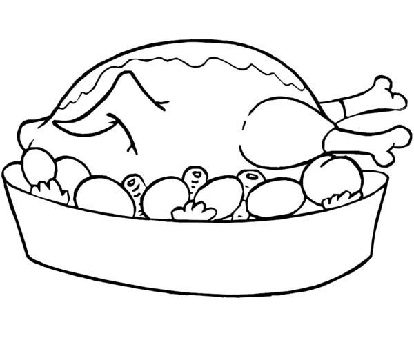 Foods, : Roasted Chicken Food Coloring Pages